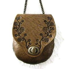 Small Beige Bag Molded Leather Tooled Flowers with Dark Brown Antiquing $98.00
