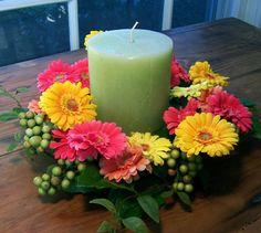 Gerbera Daisy Candle Centerpiece