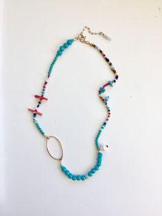 Bohemian Boho Necklace Raw Gemstone Necklace California Jade Raw Stone Hippie Necklace -Charm Necklace Green Beach Pebble Necklace