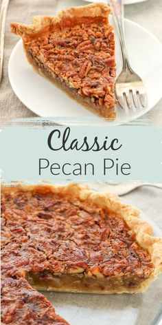 Pecan pie is a family favorite! Who doesn't love sugary sweet pecan pie for Thanksgiving or Christmas? This simple recipe for homemade pecan pie turns out perfectly every single time. This wonderful and easy pecan pie recipe can be made ahead time! Köstliche Desserts, Holiday Desserts, Dessert Recipes, Christmas Recipes, Delicious Desserts, Pecan Bars, Dessert Simple, Banoffee Pie, Easy Pie Recipes