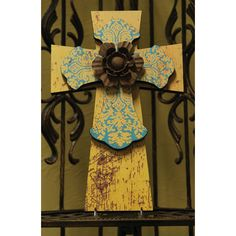 "12"" Layered Cross Gold and Turquoise with Metal Flower"