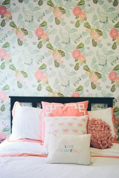 Floral wallpaper and live colorfully throw pillow: http://www.stylemepretty.com/living/2015/01/26/the-college-prepster-home-tour/ Photography: Cynthia Chung - http://www.cynthiachungweddings.com/
