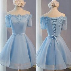 Light Blue off shoulder with short sleeve lace lovely homecoming prom dresses The Light blue off houlder homecoming prom dresses are fully lined, 8bones in the bodice, chest pad in the bust, lace up back or zipper back are all available. This dress could be custom made, there are no extra cost to do custom size and color. Description 1, Material: lace, organza, elastic silk like stain. 2, Color: picture color or other colors, there are many colors available, please contact us if you need…