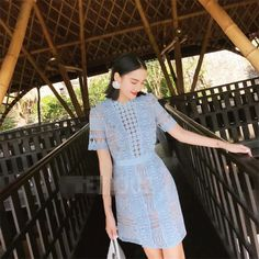 Style : Casual Decoration : Lace Color : Light Blue Season : Spring,Fall The post Hollow Out Lace Mini Party Dress appeared first on Power Day Sale. Cute Fall Outfits, Casual Outfits, Fashion Outfits, Casual Fashion Trends, Fashion Styles, Bodycon Outfits, Bodycon Dress, Fall Collection, Mini Dresses For Women
