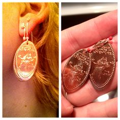 Universal Islands of Adventure, The Lorax smashed penny earrings, planning on doing all sorts of penny jewelry so keep your eyes open! #diy #pressedpennies #jewelry