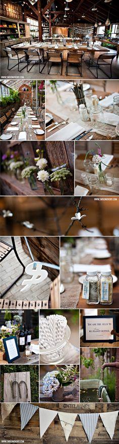 Mason Jars + Burlap Wedding Reception    http://swoonovertheblog.com/