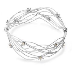 Scribbles - Silver and 9 ct Gold Bangle from Linda Macdonald Jewellery