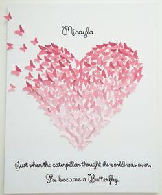 Hand-made Butterfly Heart Art with Quote by MyHappyHeartArt Children's Room décor, Baby Nursery, Valentine's Day Gift, Wedding gift. 3D Butterflies!