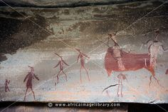 Photos and pictures of: Rock-art, Battle cave, Injisuthi, Drakensberg Mountain, South Africa - The Africa Image Library Out Of Africa, African American History, African Art, Rock Art, Archaeology, Painting & Drawing, South Africa, Evolution, Cave