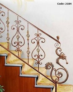Iron Stair Railing, Wrought Iron Stairs, Staircase Railings, Banisters, Staircase Design, Home Door Design, Traditional Staircase, Grill Design, Interior Stairs