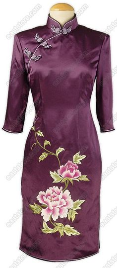 Mandarin collar.  Chinese treated phoenix button.  3/4-length sleeves.  2 side slits.  Blooming peony embroidered.  Fully lined.