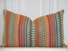 Decorative Pillow Cover -  IKAT Zig Zag - Aqua - Orange - Rust - Tan - Blue - Lumbar Pillow