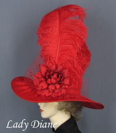 Kentucky Derby Hats for Women Kentucky Derby Hat Grandiose Red Hat Club, Madd Hatter, Red Hat Ladies, Red Hat Society, Hat Day, Red Hats, Women's Hats, Crazy Hats, Kentucky Derby Hats