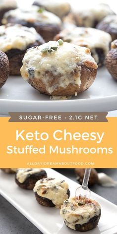 These keto stuffed mushrooms are packed with a creamy sharp cheddar filling for the ultimate low carb appetizer. Low Carb Appetizers, Appetizer Recipes, Soup Appetizers, Low Carb Desserts, Dessert Recipes, Cheddar, Keto Mushrooms, Low Carb Stuffed Mushrooms, Aperitivos Keto