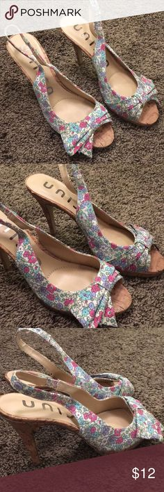 Floral cork peep toe sling back heels 7 Very little wear at the heel (not noticeable when worn) but otherwise great condition! From shoe carnival. Heels are 4.5 inches these are SO CUTE! Unisa Shoes Heels