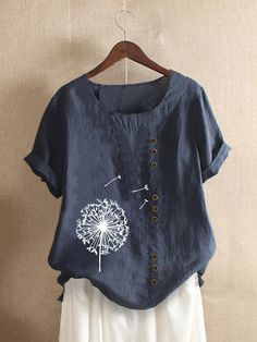 Floral Printed Short Sleeve Button T shirt For Women P1692770, Yellow / US 18