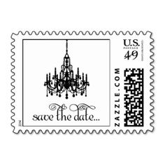 Save the Date Elegant Black Chandelier Stamp