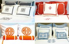 New Orleans-based Leontine Linens. THE source for monogrammed bedding and bath linens Kids Bedroom, Master Bedroom, Bedroom Decor, Monogram Bedding, Leontine Linens, California Bedroom, Little Girl Rooms, Bedroom Styles, Soft Furnishings
