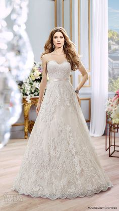 Moonlight Couture Spring 2016 Wedding Dresses | Wedding Inspirasi | Exquisite Ivory/Champagne Strapless Embroidered Lace A-Line Wedding Gown Featuring A Sweetheart Neckline, Scalloped Lace Hemline, & Lace Covered Buttons Down The Back Of The Gown & Cathedral Length Train; (Front/Full View)>>>>