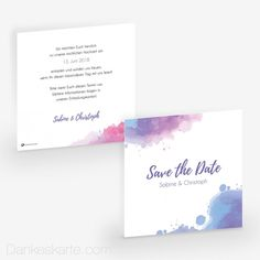 Save-the-Date Tintenkleckse x cm Save The Date, Place Cards, Wedding Inspiration, Dating, Place Card Holders, Lilac, Wedding In A Church, Thanks Card, Cards
