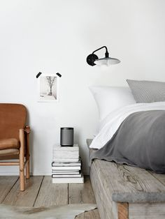 Grey and white interiors / #bedroom