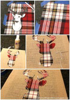 diy deer art, crafts, how to Plaid Christmas, Rustic Christmas, Winter Christmas, Christmas Time, Xmas, Christmas Canvas, Christmas Wrapping, Hirsch Silhouette, Deer Silhouette