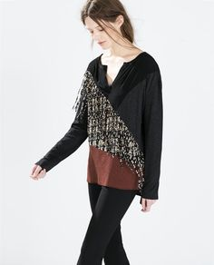 SEAMED T-SHIRT WITH FRINGES