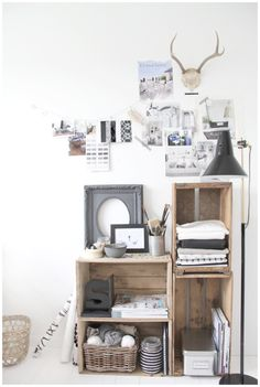 Crate storage. Usin' the corner space.