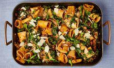 Yotam Ottolenghi's One-tray Pork & Mushroom Pasta Yotam Ottolenghi, Ottolenghi Recipes, Tray Bake Recipes, Pasta Recipes, Dinner Recipes, Cooking Recipes, Healthy Recipes, Dinner Ideas, Pork Recipes