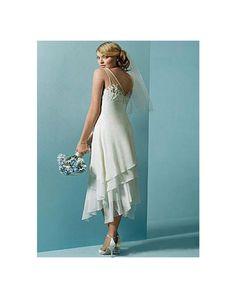 Robe de mariée en dentelle en mousseline de soie décolletée en V à A-ligne longue au mollet - Persun FR