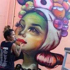 Work in progress by Tatiana Suarez and Kevin Lyons in Hawaii for @powwowworldwide #streetart #streetartnews @tatunga @klyonsnatborn by streetartnews