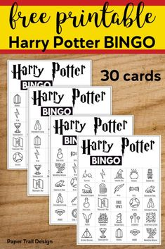 Free Printable Harry Potter Bingo Game. 30 Harry Potter themed bingo cards for a Harry Potter themed party or classroom activity. #papertraildesign #Potter #potterhead #harry #bingogame #harrypottergames #harrypotterparty