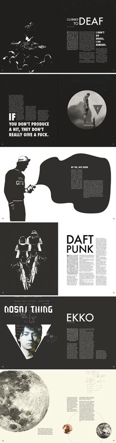 Beautiful simple black and white magazine layouts! Great use of negative space.