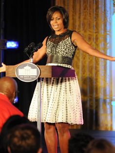 We love how Michelle Obama mixed prints at the White House Dance Series. But don't let the belt fool you, this is the one-piece Leopard Lace Dress in Powder by Byron Lars.