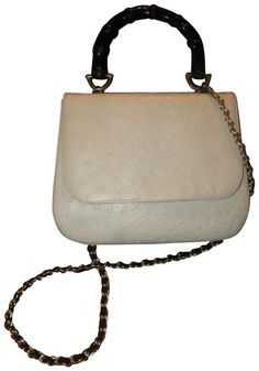 d59546847fee9a Greta Mint Vintage Two-way Style 60's Mod Kelly Style Black Satchel in  white ostrich