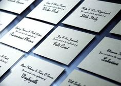 50 Place Card Ideas, Wedding Invitations Photos by Five Grain Events - use NYC boroughs as 1st 5 table names, Texas or FL cities for others?