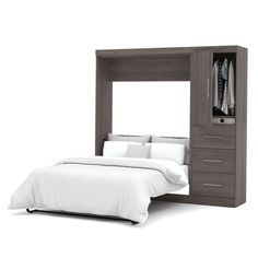 Bestar Nebula Full Wall Bed kit with Full Mattress Included - Bark Grey Murphy Bed Desk, Murphy Bed Plans, Bedroom Furniture, Home Furniture, Furniture Design, Cheap Furniture, Modular Furniture, Furniture Dolly, Black Furniture