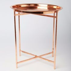 Small Folding Round Copper Coffee Side Table Contemporary Tray | eBay