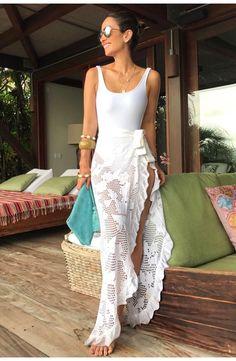 8dca4eb4f1dab Caftan Knit Tie - White | Shop Skirts at Galeria Tricot - Galeria tricot  Internacional Beach