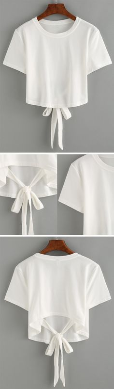 White Tie Back Crop T-shirt (Diy Shirts Back) Diy Fashion, Ideias Fashion, Fashion Outfits, Womens Fashion, Fashion Design, Dress Fashion, Summer Outfits, Casual Outfits, Cute Outfits