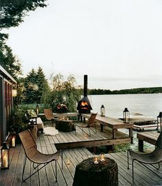 Decks/patios on a lake. Outdoor Rooms, Outdoor Gardens, Outdoor Living, Outdoor Furniture Sets, Outdoor Decor, Lakeside Living, Outdoor Seating, Lakeside View, Lakeside Cabin
