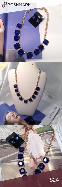 Royal Blue Necklace Set New Listing-3/21/17: This gorgeous rhinestone set is set on gold tone chain and includes matching stud earrings. Price is firm unless bundled (This closet does not trade) Boutique Jewelry Necklaces