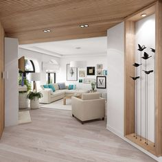 wood and white living Home And Living, Living Room, White Wood, Home Projects, Indoor, Simple, Furniture, Modern Interior, Design