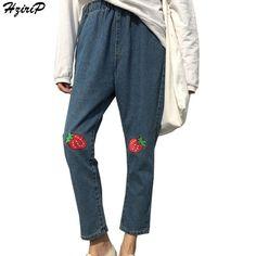 HziriP Women High Waist Denim Jeans Vintage Loose Embroidered Jeans Femme Pencil Jeans High Quality Harlan Denim Pants Plus Size #Affiliate