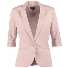 mbyM TABITA Blazer misty (135 CAD) ❤ liked on Polyvore featuring outerwear, jackets, blazers, coats, tops, rose, pink jacket, leather jacket, patterned blazer and collar jacket