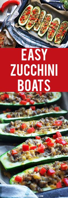 Don't feel like cooking but still want to enjoy a delicious, comfort meal? This stuffed zucchini boats recipe is exactly what you need. If you crave some stuffed veggies these stuffed zucchinis are perfect! #zucchini #stuffed #zucchiniboats https://gourmandelle.com/stuffed-zucchini-boats/