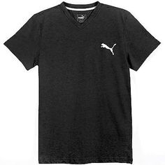 Puma Ideal V-Neck Tee Mens 835969-03 Dark Grey White S/S T-Shirt Top Size S