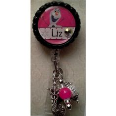 Badge Reel Embellished with Beads  Please provide name preference in the Notes to Seller section.