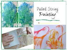 Pulled String Painting - fun art activity for kids!