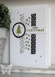 Washi tape handmade Christmas card from http://www.lovetostamp.nl ... black and white with a bit of gold ... washi tape strips ... Stampin' Up!